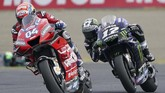 Pebalap Ducati Andrea Dovizioso berhasil mengalahkan Maverick Vinales pada perebutan podium ketiga MotoGP Jepang 2019. (AP Photo/Christopher Jue)
