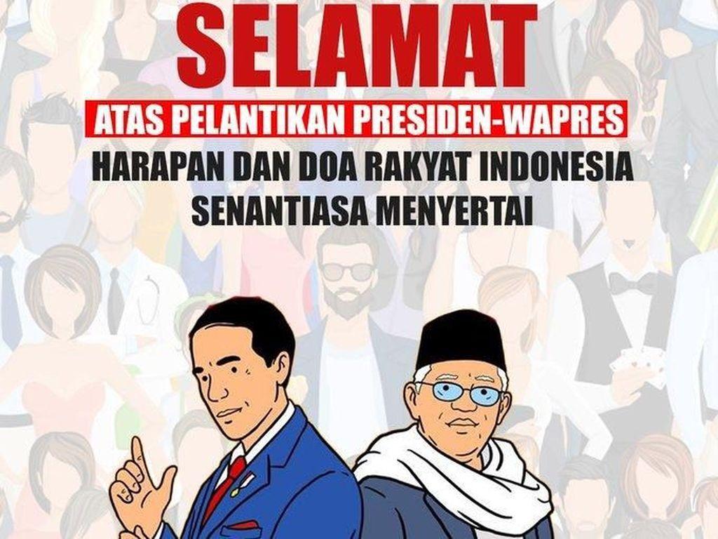Ucapan selamat untuk Presiden Jokowi dan Wapres Maruf Amin (Twitter)