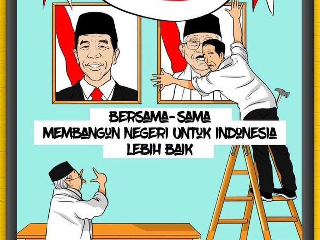 Jokowi memasang foto Maruf Amin (Twitter)