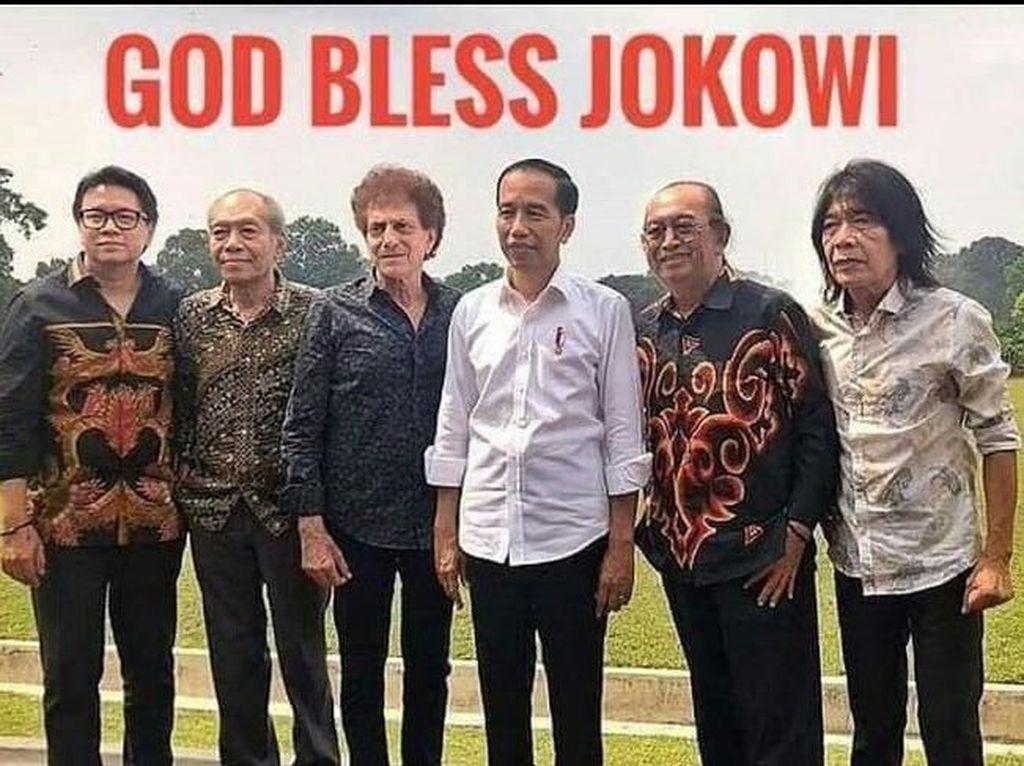 Ini meme cerdas, God Bless Jokowi. Artinya semoga Tuhan memberkati Jokowi, dengan foto Jokowi dan grup rock legendaris God Bless (Twitter)