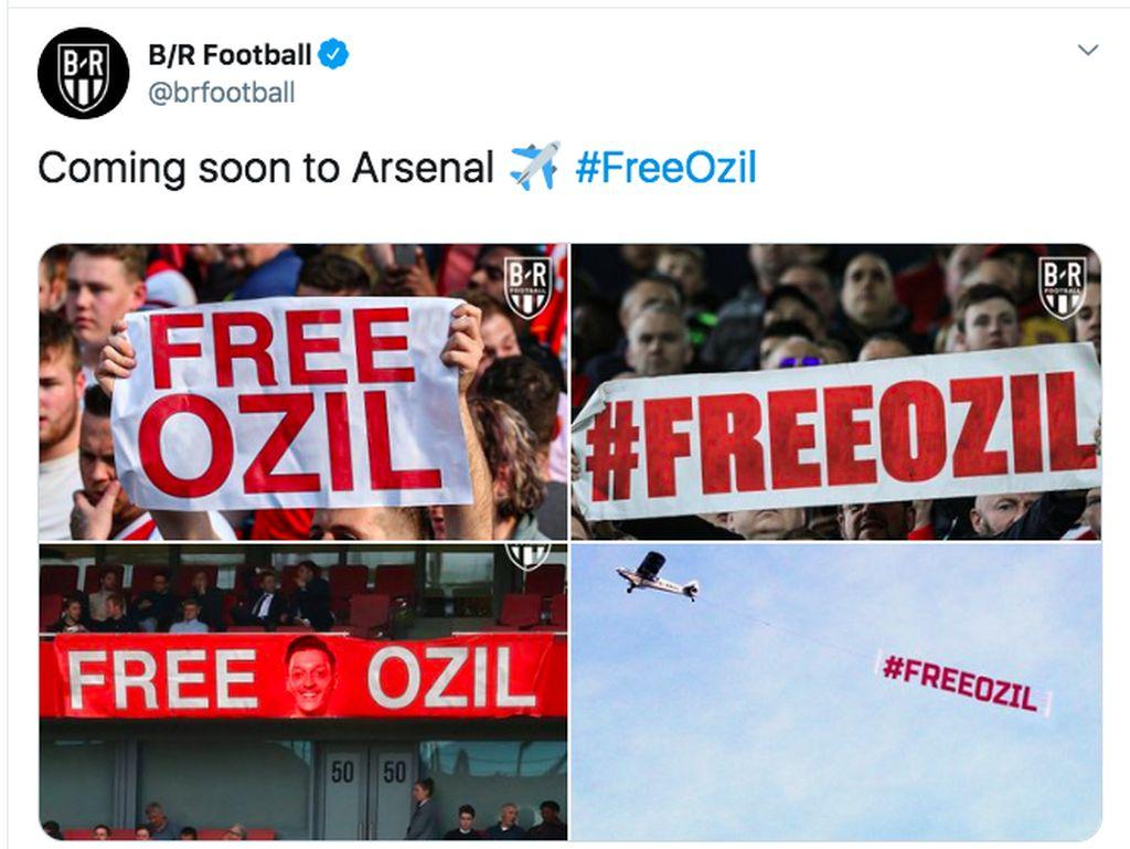 Usai kekalahan semalam, beberapa fans menyebut lebih baik Mesut Ozil segera pergi dari Arsenal. Foto: Twitter