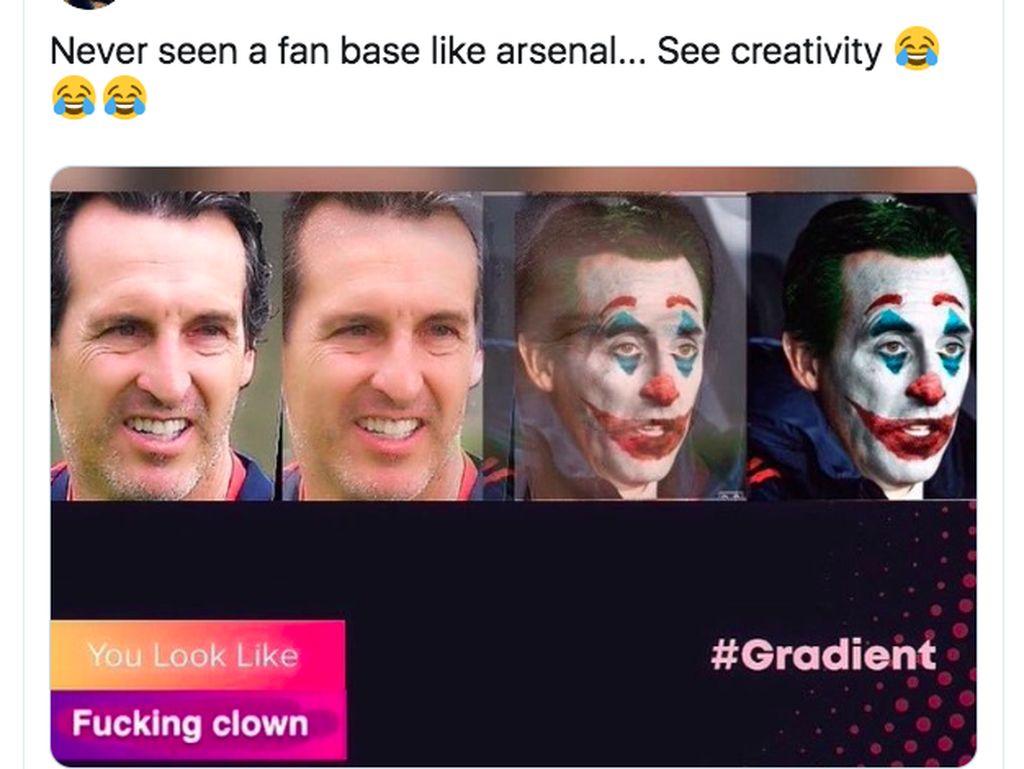 Pelatih Unay Emery digambarkan sebagai badut ala Joker. Foto: Twitter