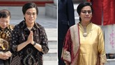 Sri Mulyani kembali menduduki posisi Menteri Keuangan. Dalam sambutannya, dia mengucapkan terima kasih kepada suami dan keluarga yang telah menjaga dan mendampinginya selama tiga tahun menjadi menteri. (CNN Indonesia/Adhi Wicaksono/ANTARA FOTO/Wahyu Putro A)