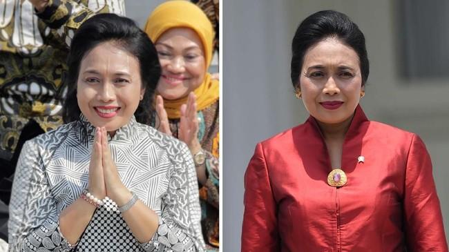 Wajah baru pertama adalahBintang Puspayoga yang duduk sebagai Menteri Pemberdayaan Perempuan dan Perlindungan Anak. Dia aktif dalam Aksi Solidaritas Era Kabinet Kerja saat sang suami, AAGN Puspayoga, masih duduk sebagai Menteri Koperasi. (CNN Indonesia/Adhi Wicaksono/ANTARA FOTO/Wahyu Putro A)
