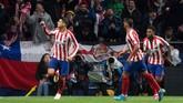 Alvaro Morata mencetak gol tunggal kemenangan Atletico Madrid ketika menjamu Bayer Leverkusen di Stadion Wanda Metropolitano.(Photo by CURTO DE LA TORRE / AFP)
