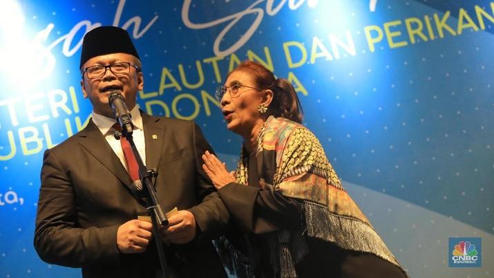 Menteri Kelautan dan Perikanan periode 2019-2024 Edhy Prabowo menghadiri acara pisah-sambut di Kementerian Pertanian (KKP).
