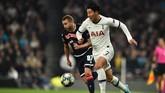 Son Heung Min menjadi salah satu pencetak gol dalam pesta kemenangan 5-0 Tottenham Hotspur atas Red Star di Stadion Tottenham Hotspur. Son mencetak dua gol, begitu pula dengan Harry Kane. Satu gol lagi dilesakkan Erik Lamela. (Photo by Glyn KIRK / AFP)