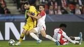 Barcelona berhasil membawa Barcelona unggul 1-0 atas Slavia saat laga baru berusia dua menit.(AP Photo/Petr David Josek)