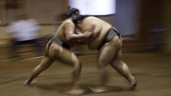Para pegulat sumo berlatih di pusat pelatihan sumo Musashigawa di Beppu, Jepang. (AP Photo/Aaron Favila)