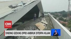 VIDEO: Dinding Gedung DPRD Ambruk Diterpa Angin