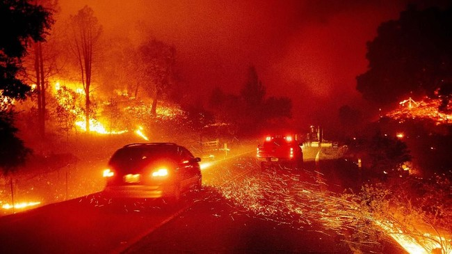 Kebakaran itu terus meluas akibat tiupan angin yang cukup kencang. (AP Photo/Noah Berger)
