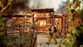 Museum J. Paul Getty di Brentwood, Los Angeles, juga terancam kobaran api yang terus membesar. (AP Photo/Noah Berger)