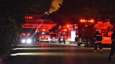 Api berhasil dipadamkan setelah petugas pemadam kebakaran berjuang memadamkan selama beberapa jam.(Tomomi Tomita/Kyodo News via AP)