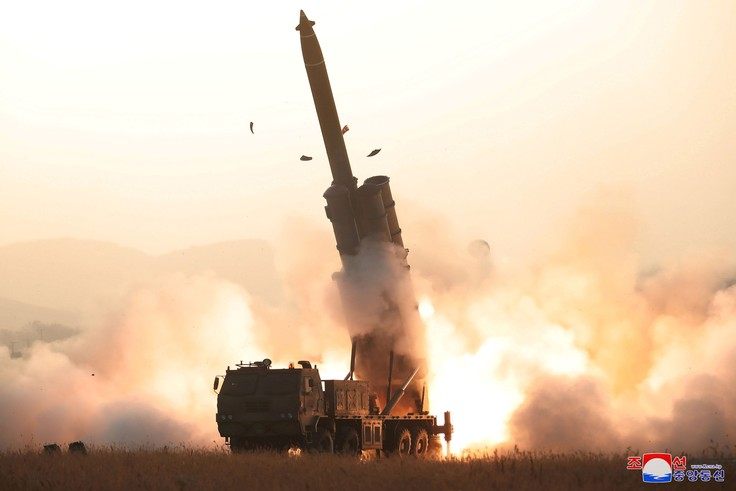 The apparent launching of projectiles that, according to military officials in Japan and South Korea, landed in the sea between the Korean Peninsula and Japan, is seen in this undated picture released by North Korea's Central News Agency (KCNA) on October 31, 2019. KCNA via REUTERS