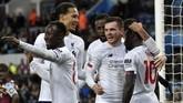 Liverpool mempermalukan Aston Villa 2-1 berkat dua gol Sadio Mane di Stadion Villa Park, Birmingham. (AP Photo/Rui Vieira)