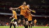 Wolverhampton Wanderers tahan imbang Arsenal 1-1 berkat gol Raul Jimenez. (Paul Harding/PA via AP)