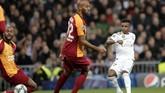 Rodrygo membuka kemenangan Real Madrid atas Galatasaray dengan gol tembakan kaki kiri dari dalam kotak penalti pada menit keempat.(AP Photo/Bernat Armangue)