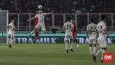 Skor 1-0 untuk Korea Utara U-19 bertahan hingga akhir babak pertama. Skor itu membuat Indonesia U-19 harus bermain lebih agresif di babak kedua. (CNN Indonesia/Bisma Septalisma)