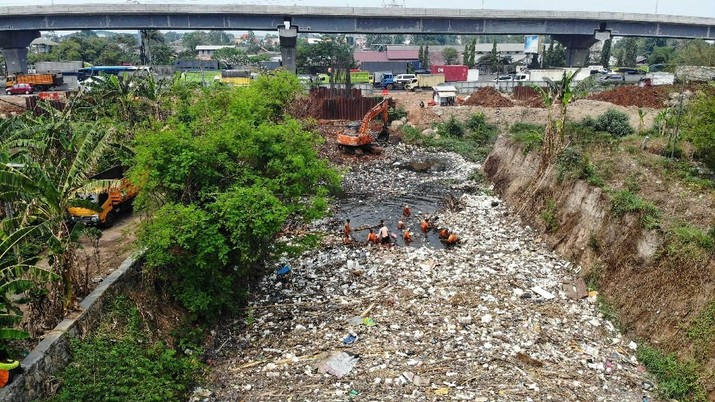Berbagai jenis barang seperti sampah plastik, kayu, styrofoam, hingga sisa tumbuhan terlihat memadat.