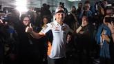 Sejumlah pebalap MotoGP seperti Marc Marquez, Andrea Dovizioso, Alex Rins, dan Maverick Vinales turut hadir dalam konferensi pers Jorge Lorenzo. (JOSE JORDAN / AFP)