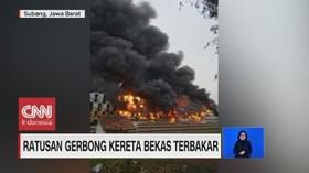 VIDEO: Ratusan Gerbong Kereta Bekas Terbakar