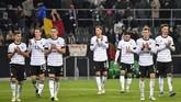 Jerman memastikan lolos ke Piala Eropa 2020 setelah pada laga Grup C lainnya Belanda menahan imbang Irlandia Utara. (AP Photo/Martin Meissner)