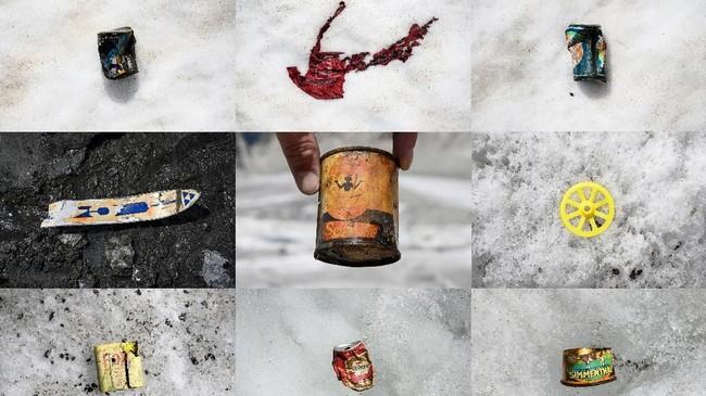 Foto kombinasi yang diambil dariMer de Glacemenunjukkan beragam sampah di Mer de Glace yang muncul ke permukaan akibat salju yang sebelumnya menutupi barang-barang itu meleleh. (Photo by MARCO BERTORELLO / AFP)