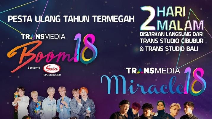 Dua boyband dari agensi SM Entertainment bakal memeriahkan acara HUT 18 Transmedia, yakni EXO dan NCT Dream