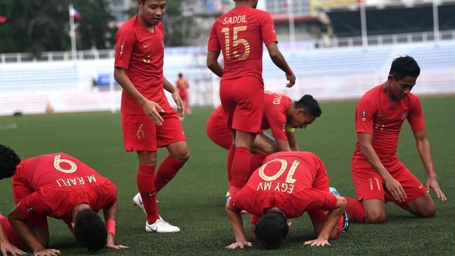 Indonesia akan menghadapi Singapura pada laga kedua Grup SEA Games 2019, Kamis (28/11). (ANTARA FOTO/Sigid Kurniawan/aww)