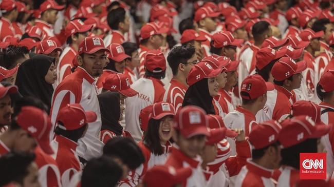 Ragam raut wajah para atlet Indonesia saat pengukuhan SEA Games 2019. (CNN Indonesia/Bisma Septalisma)