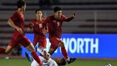 Vietnam akhirnya mencetak gol lewat sundulan kepalaNguyen Thanh Chung di menit ke-64. (ANTARA FOTO/Sigid Kurniawan)