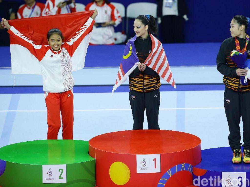 Sementara medali emas diraih Abdul Hadi Farah Ann dari Malaysia. Sementara perunggu juga diraih pesenam Negeri Jiran, Tang Ing Yueh.