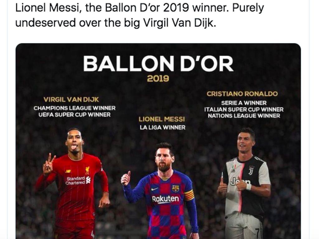 Tentu ada pro kontra. Netizen ini merasa Virgil Van Dijk lebih berhak meraih Ballon dOr ketimbang Messi. Foto: istimewa