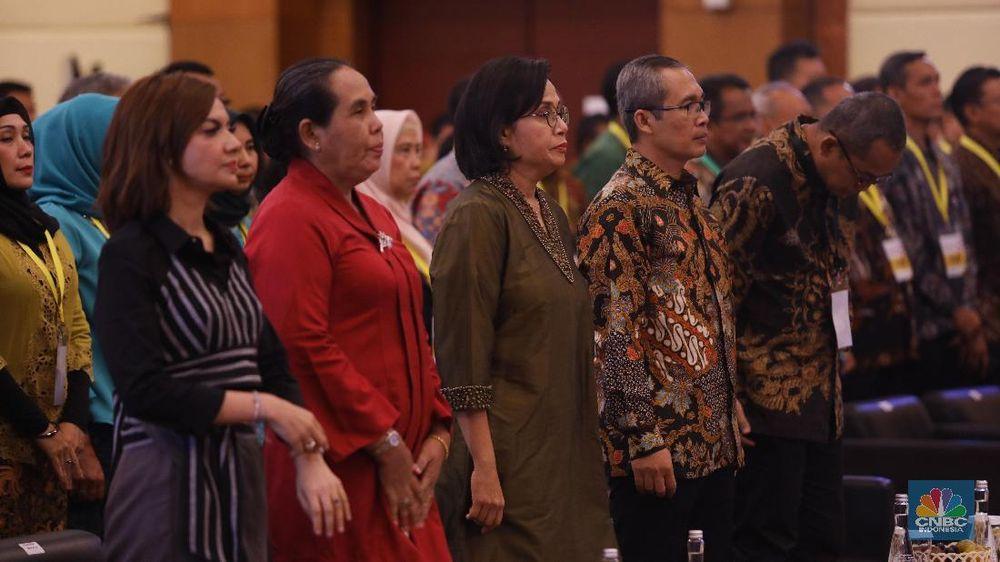 Dalam sambutannya, Menteri Keuangan Sri Mulyani mengingatkan kepada seluruh PNS Kemenkeu untuk saling mengingatkan untuk menghilangkan tindak korupsi. (CNBC Indonesia/Tri Susilo)