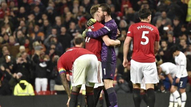 Kemenangan atas Tottenham jadi yang pertama bagi MU dalam empat pertandingan terakhir setelah tiga laga sebelumnya meraih dua kali imbang dan sekali kalah di semua kompetisi. (AP Photo/Rui Vieira)