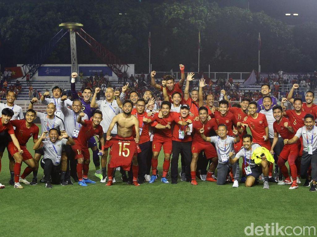 Ekspresi Kegembiraan Timnas U-22 Usai Tundukkan Myanmar
