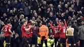 Kemenangan atas Manchester City membuat Manchester United meraih dua kemenangan beruntun karena sebelumnya berhasil menaklukkan Tottenham Hotspur. The Red Devils pun naik ke peringkat kelima klasemen Liga Inggris. (AP Photo/Rui Vieira)