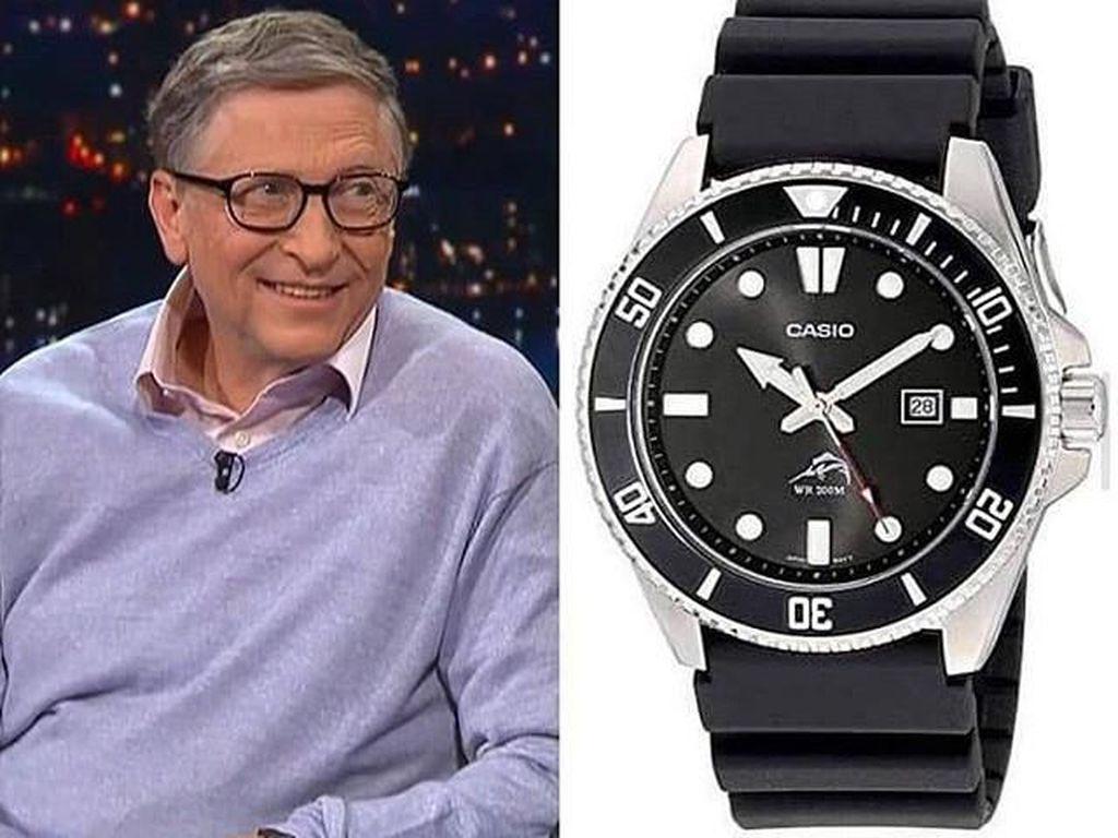 Saat tampil di sebuah acara televisi, Gates memakai jam jenis Casio Diver dengan harga hanya USD 44. Foto: istimewa