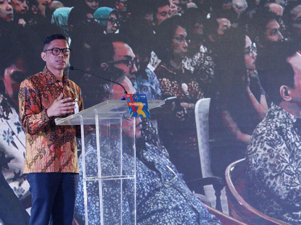 Direktur Utama PT Bank Tabungan Negara (Persero) Tbk Pahala N. Mansury memberikan sambutan dalam perayaan HUT KPR BTN ke-43. Foto: dok. Bank BTN