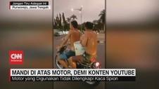 VIDEO: Demi Konten Youtube, Remaja Nekat Mandi di Atas Motor