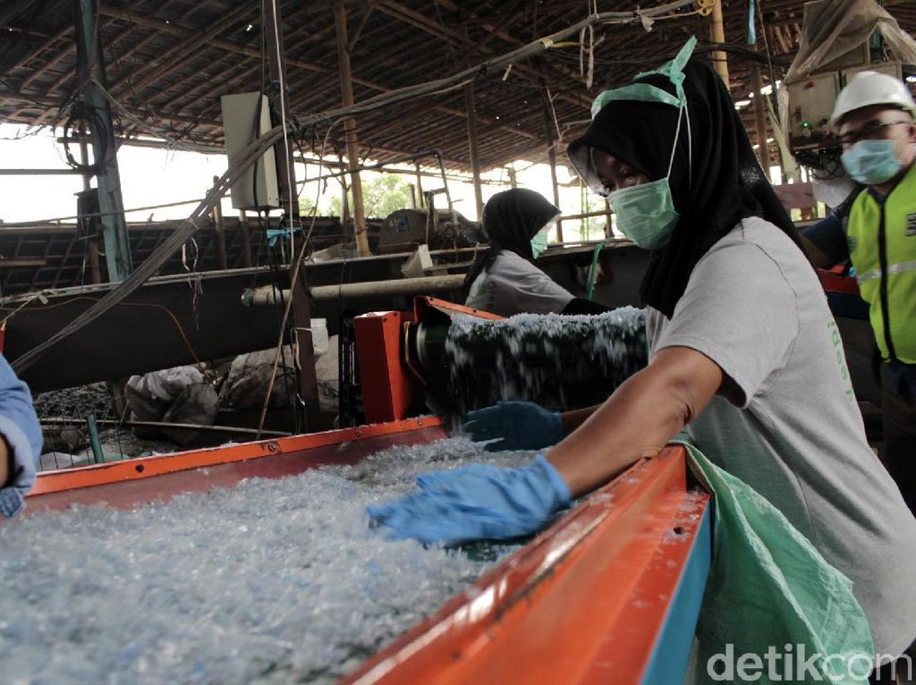 Pekerja menyortir kontaminasi dari hasil gilingan pada flakes (bijih plastik)