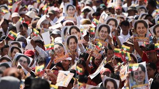FOTO: Dukungan dari Myanmar untuk Suu Kyi