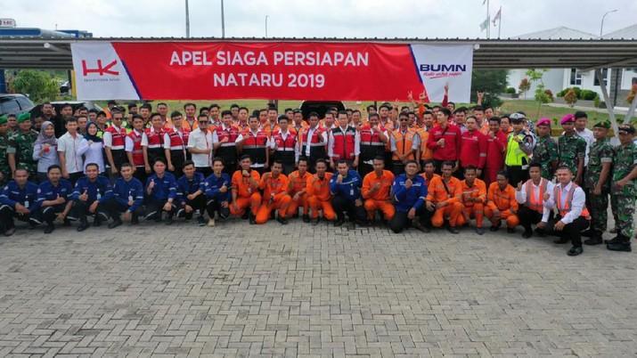 PT Hutama Karya (Persero) melakukan apel siaga memastikan kesiapan kesiapan Jalan Tol Trans-Sumatera untuk dilalui pemudik.