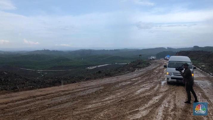 Sebagian lahan ibu kota baru di kecamatan Sepaku, Kabupaten Penajam. (CNBC Indonesia/Chandra Gian Asmara)