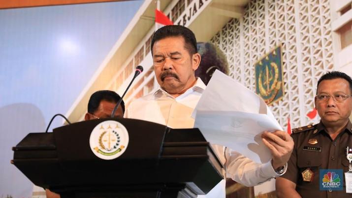 ST Burhanuddin Gelar Preskon Terkait Dugaan Korupsi PT Jiwasraya. (CNBC Indonesia/Muhammad Sabki)