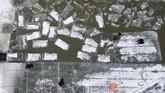 Pekerja harus berendam dalam dinginnya sungai setiap hari. Tapi itu adalah risiko yang rela diambil oleh para pekerja yang merupakan petani untuk mendapatkan uang tambahan selama musim dingin. (NOEL CELIS / AFP)