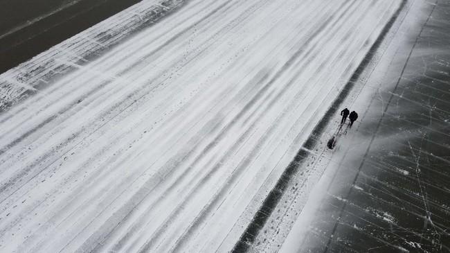 Para petani es memotong 2.000 keping es setiap hari selama sekitar tiga minggu, tiba di tepi sungai sebelum matahari terbit dan baru pulang setelah matahari terbenam. (NOEL CELIS / AFP)