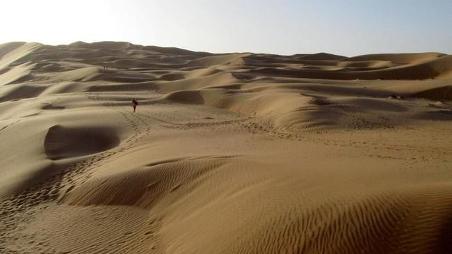 Gurun pasir Rub' al Khali di Abu Dhabi menjadi lokasi syuting rumah Rey, Jakku. (Wissam Keyrouz / AFP)