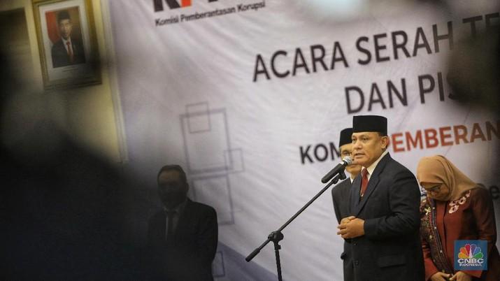 Serah Terima Jabatan Ketua KPK, Firli Baharudin  (CNBC Indonesia/Andrean Kristianto)