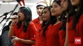 "Kegiatan bertajuk ""Christmal Carol"" itu digelar di 11 titik di Jalan Sudirman-MH Thamrin dan stasiun MRT pada 18-20 Desember 2019. Kegiatan berlangsung pada pukul 17.00-19.00 WIB. (CNN Indonesia/Andry Novelino)"